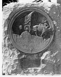 Old Oregon Trail medallion in Baker City, Oregon. 