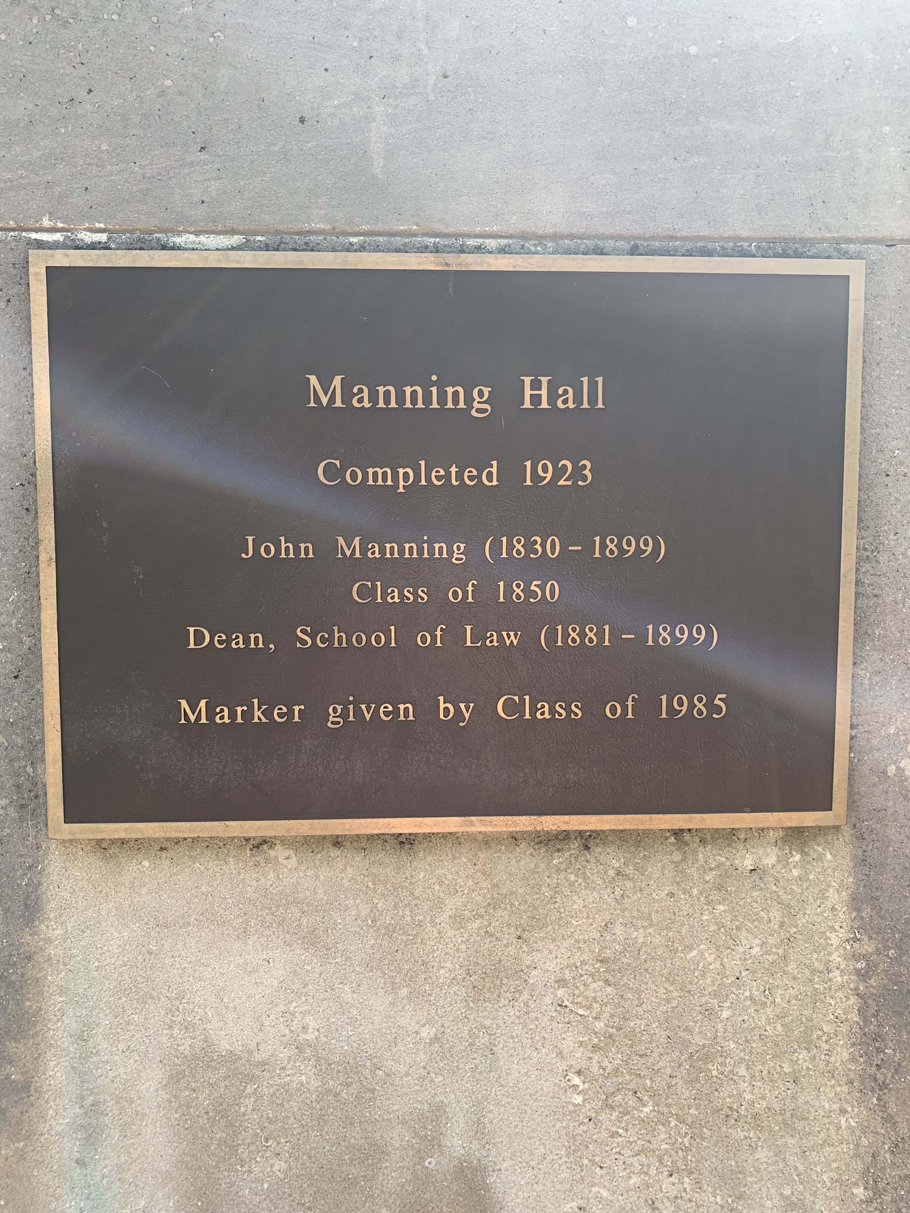 This plaque on the front steps commemorates the completion of Manning Hall in 1923. Manning Hall was originally the home of UNC's School of Law. The building was named after John Manning, a professor and dean at the Law School.