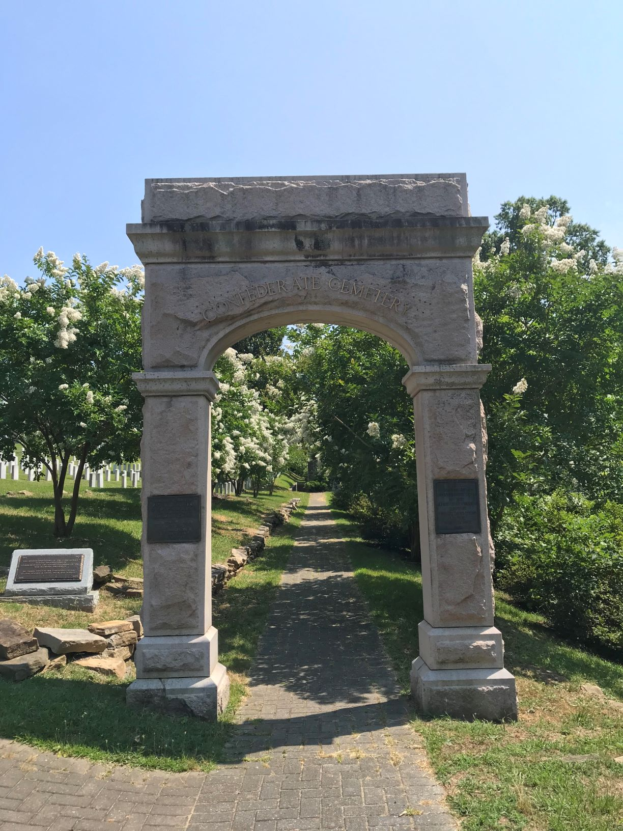 Memorial Arch, Donated in 1910 by the United Daughters of the Confederacy. Serves as the entrance to the Confederate section of the cemetery.