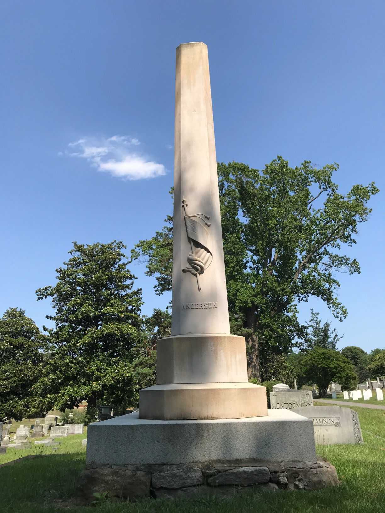 General George Burgwyn Anderson Monument erected in 1868.General Anderson was wounded at the battle of Sharpsburg (Antietem) in Maryland on September 17, 1862. After the battle, Anderson was carried to Richmond and then to Raleigh where he had a foot ampu