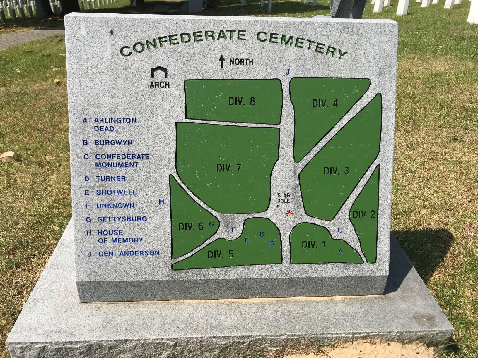 A map of the 8 divisions of the Confederate Cemetery.