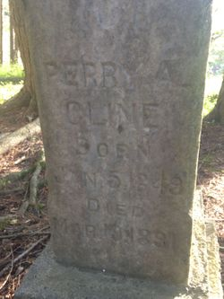 The front view of Perry Cline's tombstone