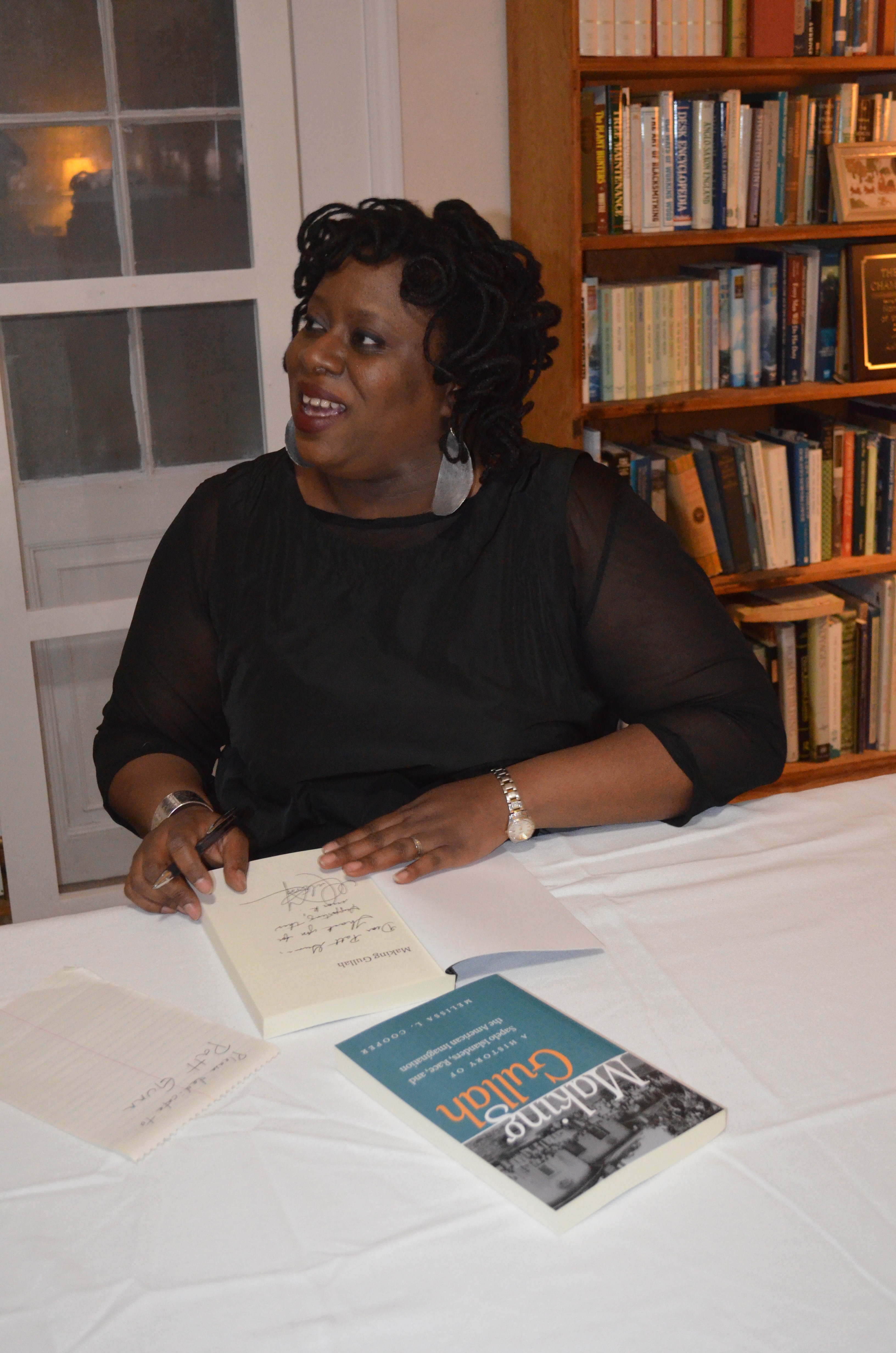 "Dr. Melissa Cooper, author of ""Making Gullah"" at her reception."