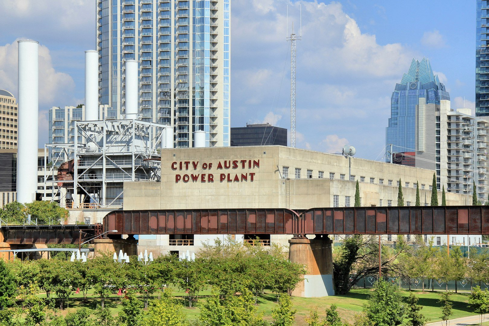 The former Seaholm Power Plant located in the Seaholm District of downtown Austin, Texas. It now stands with, and is connected to, a high-rise condominium.