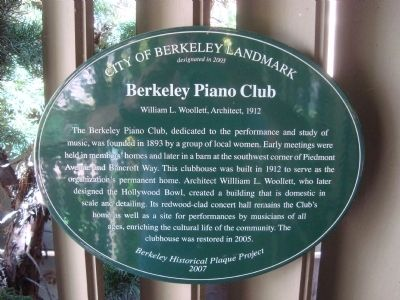 Berkeley Piano Club Historical Marker, which notes that the clubhouse was designated as a City of Berkeley Landmark (2005), with the plaque placed in 2007