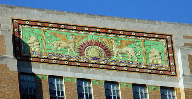 Detail of the top of the building