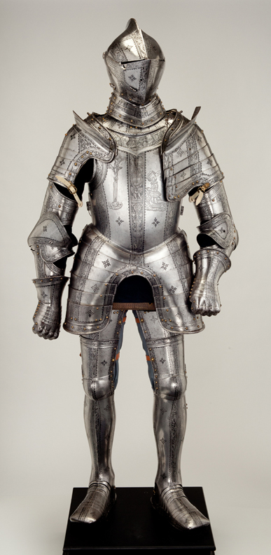This suit of armor was completed in 1554 for the Austrian noblemn Franz von Teuffenbach