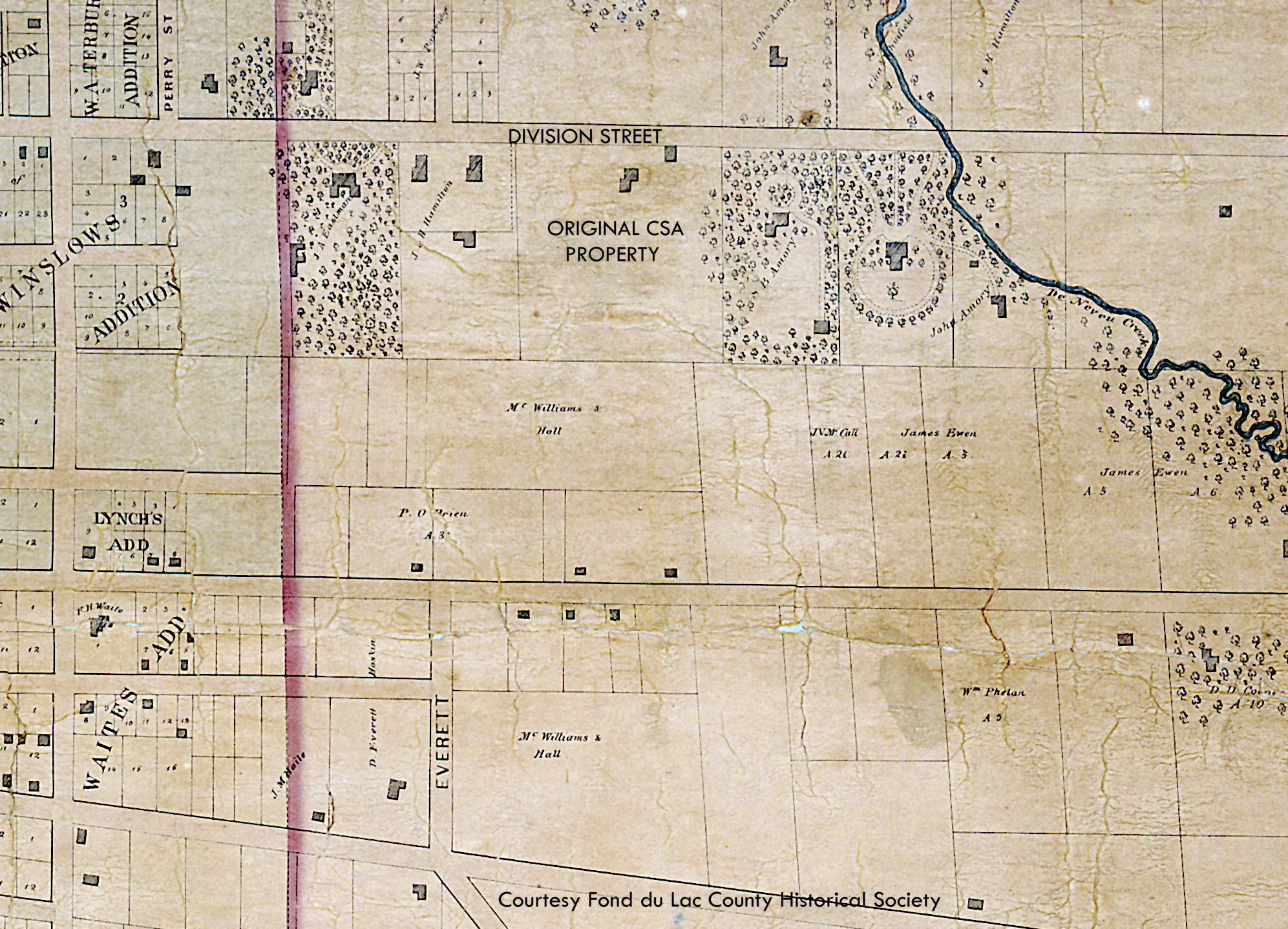 Plat map from 1857 showing parcel of land the Sisters of St. Agnes would purchase 13 years later.