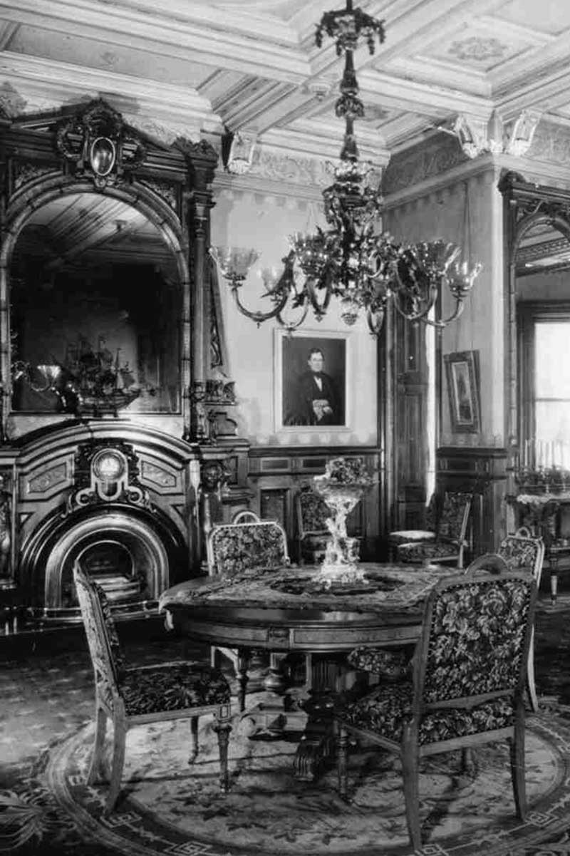 A historic photo of the Dining Room in the Mathews era