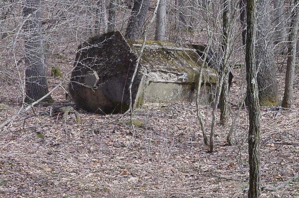 Fallen railroad signal booth near site in 2010