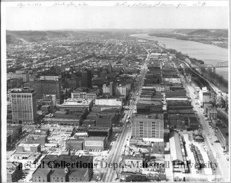 Aerial view of downtown Huntington, with Gwinn Bros Mill visible on the right, in 1960