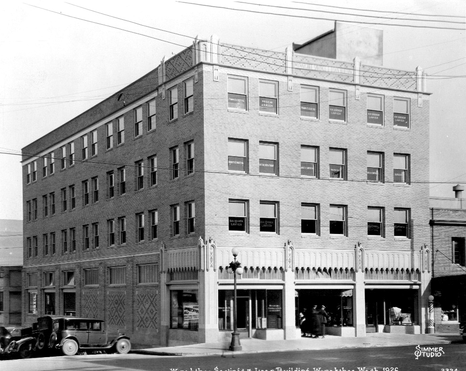 The Wenatchee Federal Savings & Loan Building by Photographer Alfred Simmer, taken in 1926.