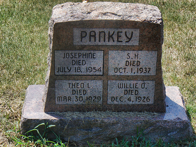 This gravestone marks the place where Josephine Pankey, along with her husband and two step-children were buried.