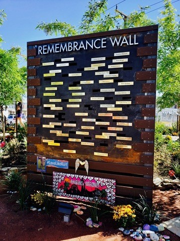 The Remembrance Wall has 58 plaques for the the victims who lost their lives