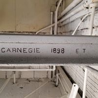 A rail used to construct the station. Made by Carnegie Steel