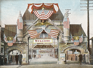 Image of the Union Stock Yards Gate, c. 1901-1907.