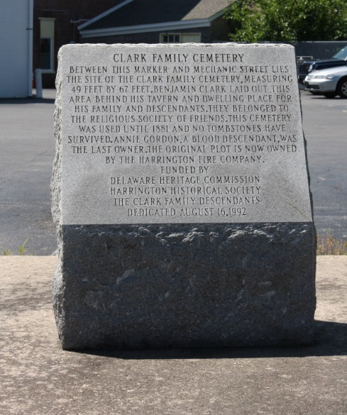 Marker placed on the site of the Clark Family Cemetery