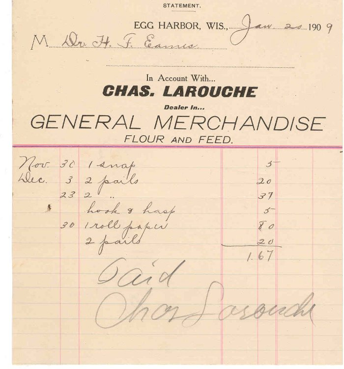 1909 Invoice of purchases made by Dr Eames from the Le Rouche Merchantile