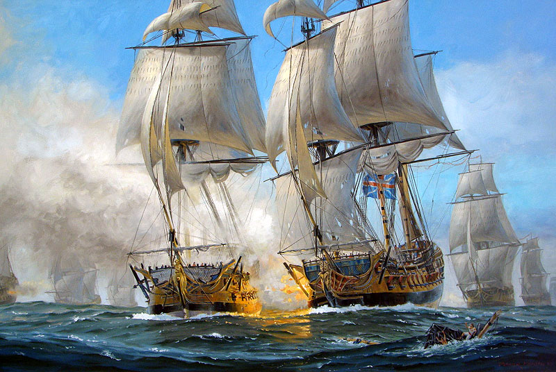 Another painting of the Battle of the Chesapeake