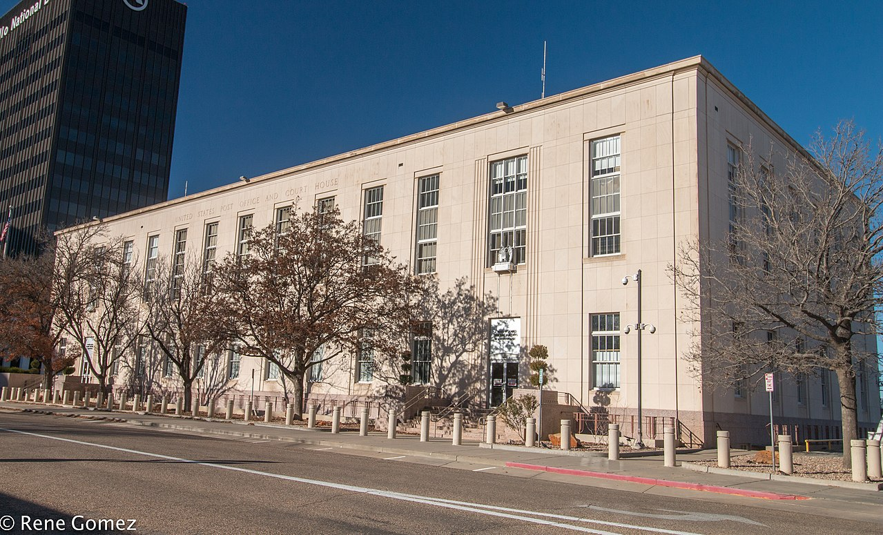 Designed in the Moderne style, the J. Marvin Jones Federal Building was built in 1939.