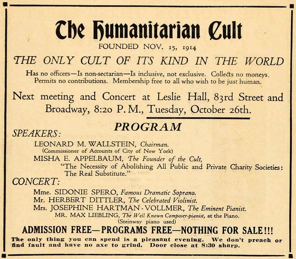 A flyer for the Humanitarian Cult