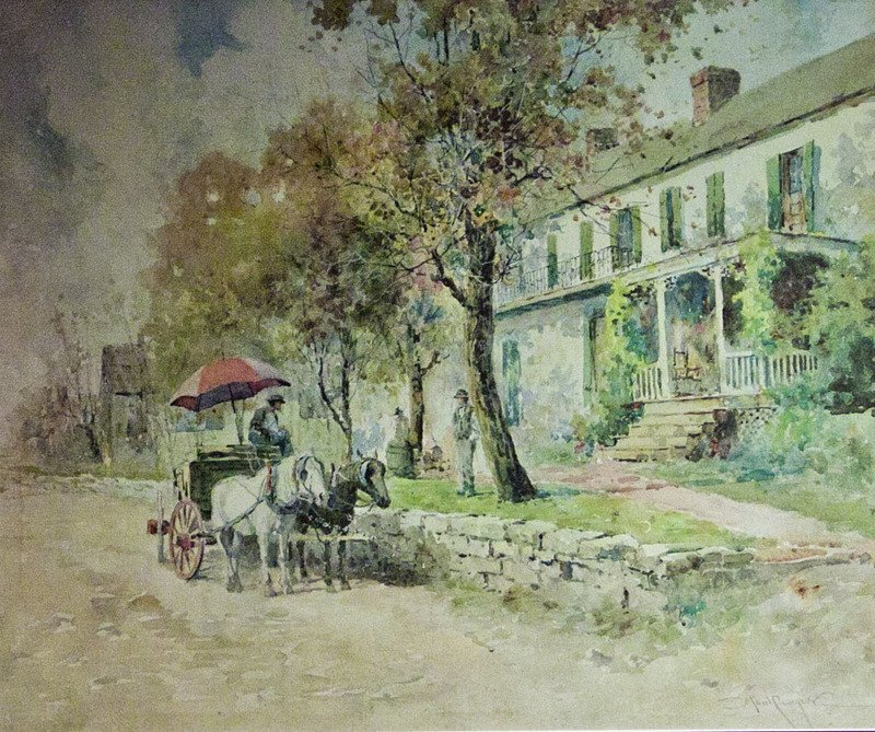 This painting of the Keene Springs Hotel was created in 1916 and held by the Kentucky Historical Society