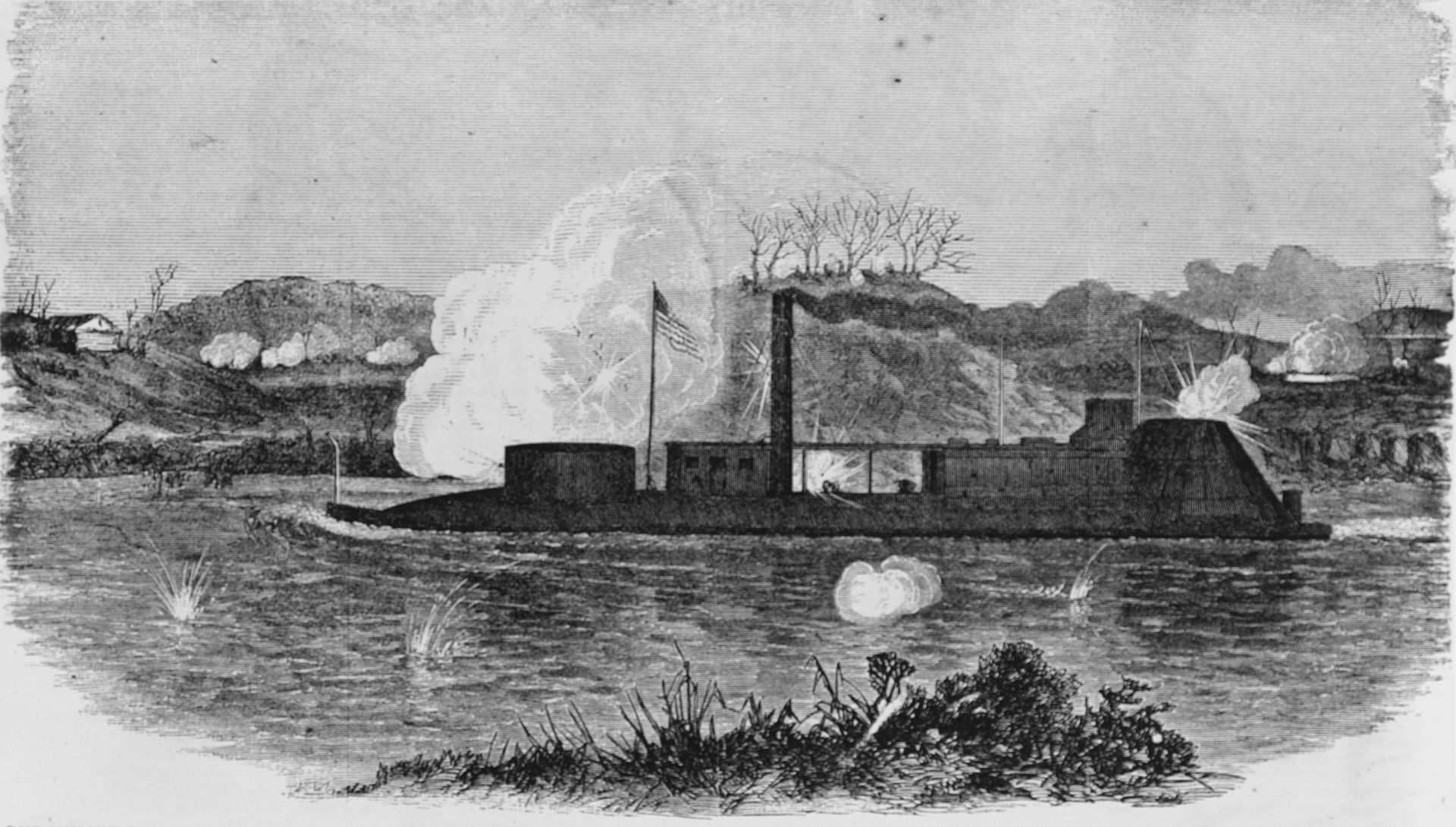 USS Neosho engaging Confederate Cannons on the North Bank of the Cumberland River, two of her sailors would receive Medals of Honor