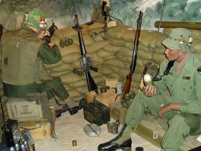 The museum includes artifacts and murals such as this work depicting soldiers in Vietnam
