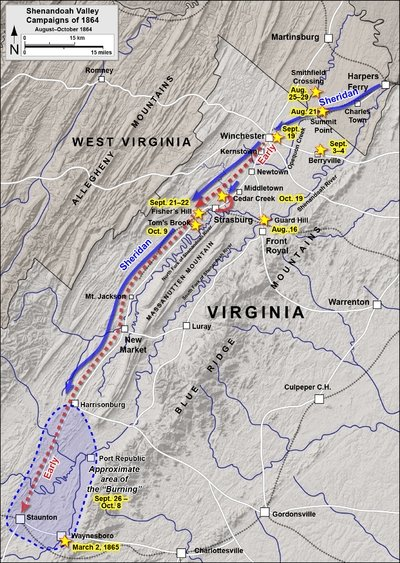 Map of battles between Confederate and Union forces in the Shenandoah Valley, including the Battle of Smithfield Crossing