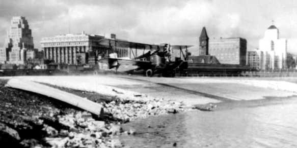 Loening Air Yacht descending Maitland's seaplane ramp, 1930.