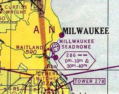 June 1946 Milwaukee Sectional Chart depicting the Milwaukee Seadrome.