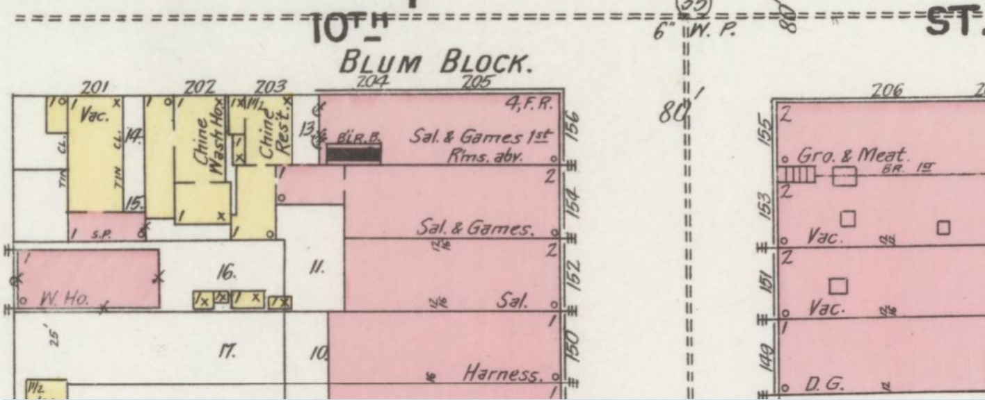 Saloon and games room on ground floor with rooms above on 1898 Sanborn Fire Insurance Map (Sanborn Map Company p.7)