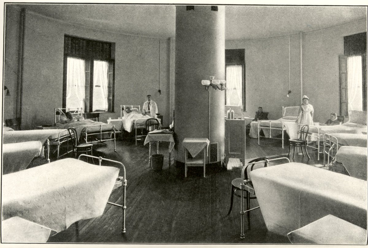The hospital's rounded interior