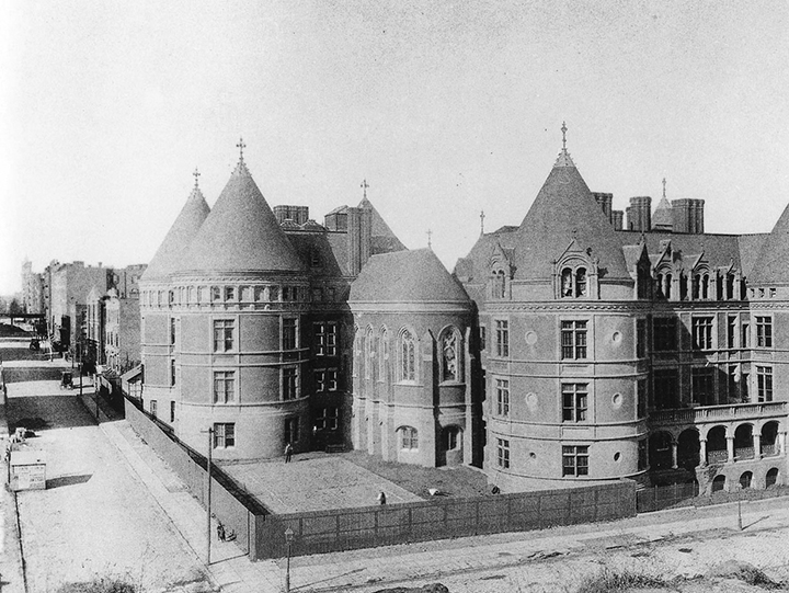 The hospital as it appeared in the late 1800s