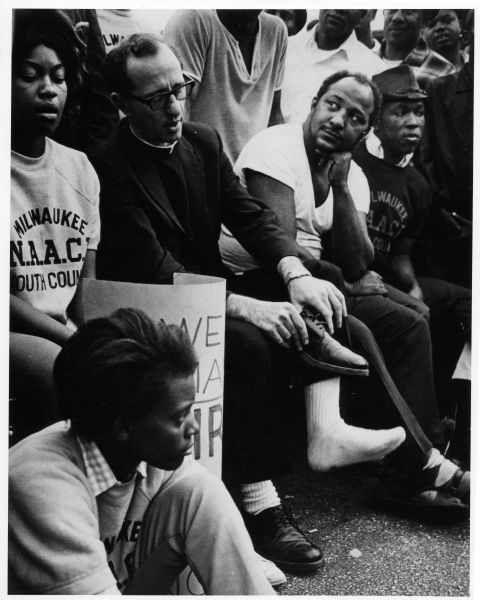 Father James Groppi and members of the NAACP Youth Council, 1967. Photo Credit: Wisconsin Historical Society