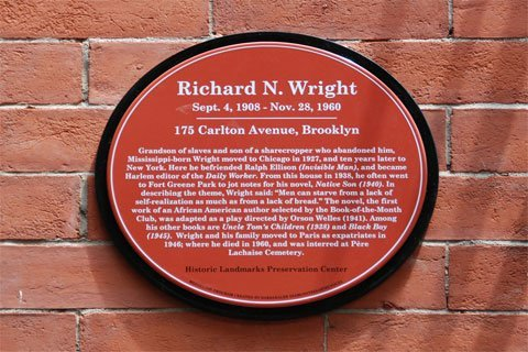 The plaque on Wright's former apartment