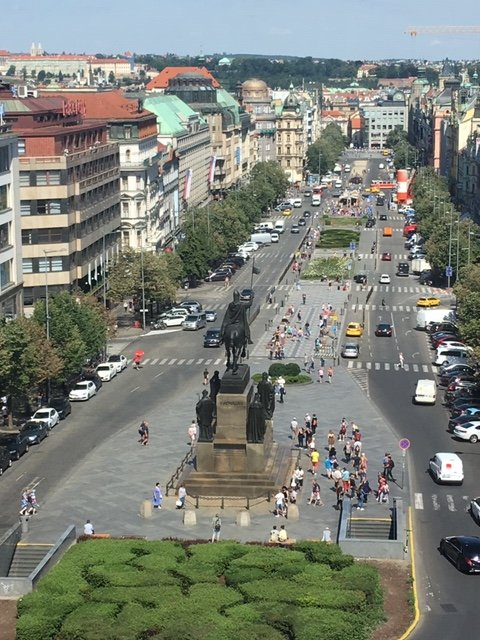 View of Wenceslas Square from the top of the National Museum.