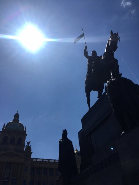 The statue of St. Wenceslas.