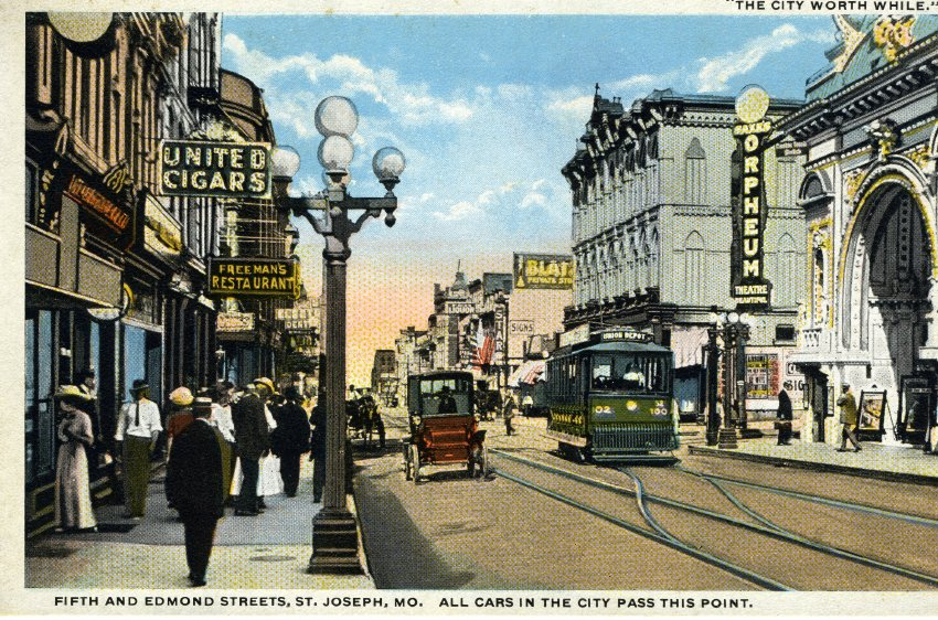The Orpheum Theater located on the right at the corner of Fifth and Edmond Streets. The view is looking west down Edmond Street.  Image provided by the St. Joseph Museums, Inc.