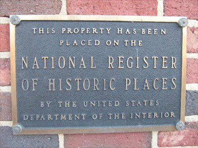 National Register of Historic Places plaque on building