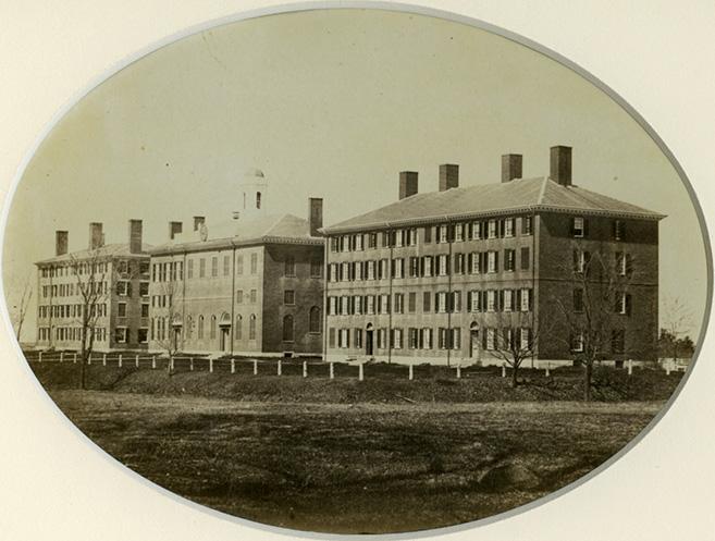 Seminary Row, Bartlet Hall at left, 1860s