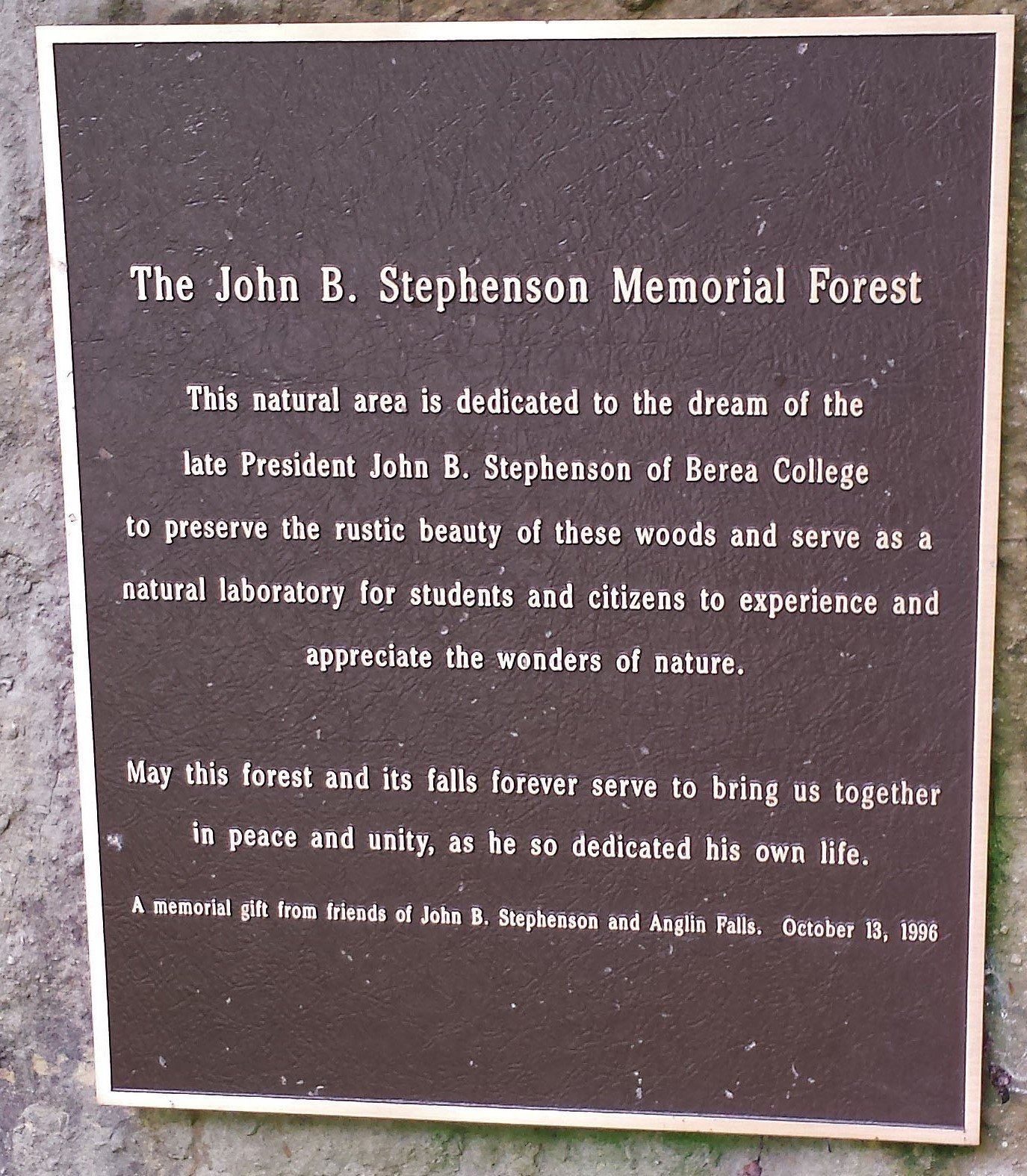 Plaque marking the beginning of The John B Stephenson Memorial Forest