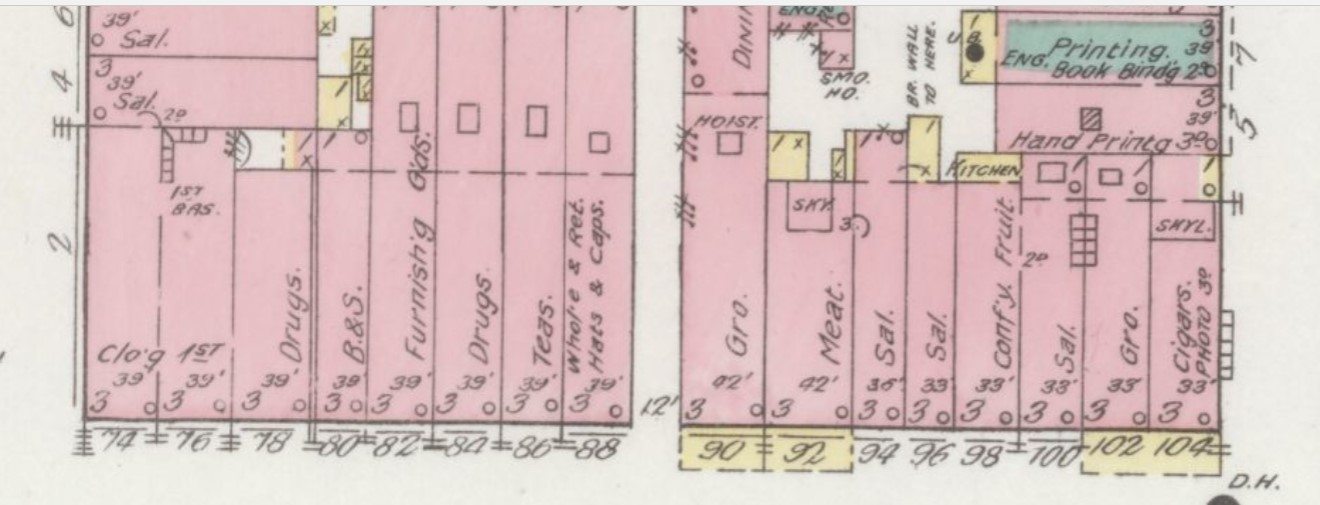 Part of 400 block N. Main St. in 1892; #98 & #100 are Brown-Feuer building (Sanborn Map Company p.5)