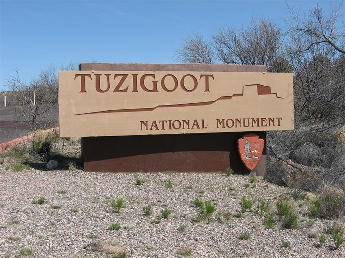 Entrance sign for the Tuzigoot National Monument