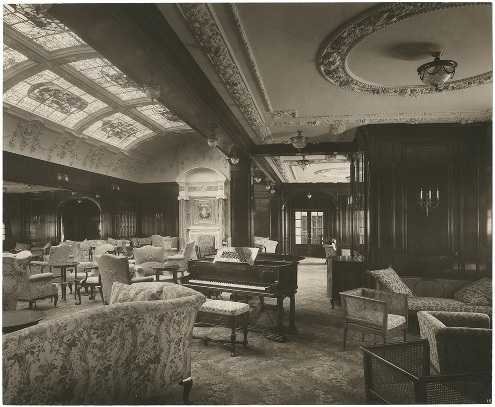 The Lusitania was a lavish ship. This picture shows the lounge and music room.