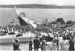 Dedication of the Lake Washington Floating Bridge, later Lacey V. Murrow Memorial Bridge, in 1940. This caused the immediate shutdown of the ferry system.