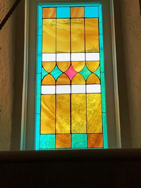 One of the stained glass windows from the church's interior. 
