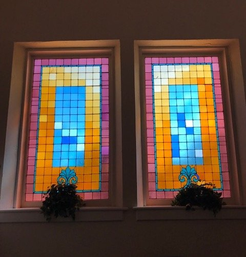 Stained glass windows from the church's interior. 