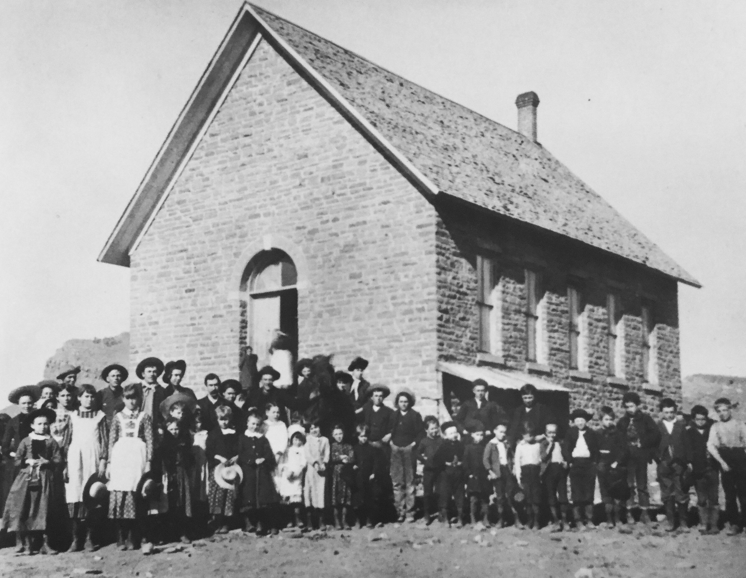 Photo of the schoolhouse in 1885. 