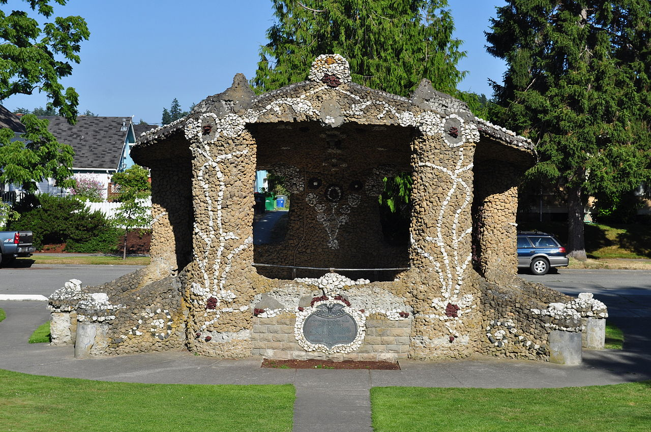 The bandstand. LePage's work has been likened to the style of Spanish artist Antonio Gaudi.